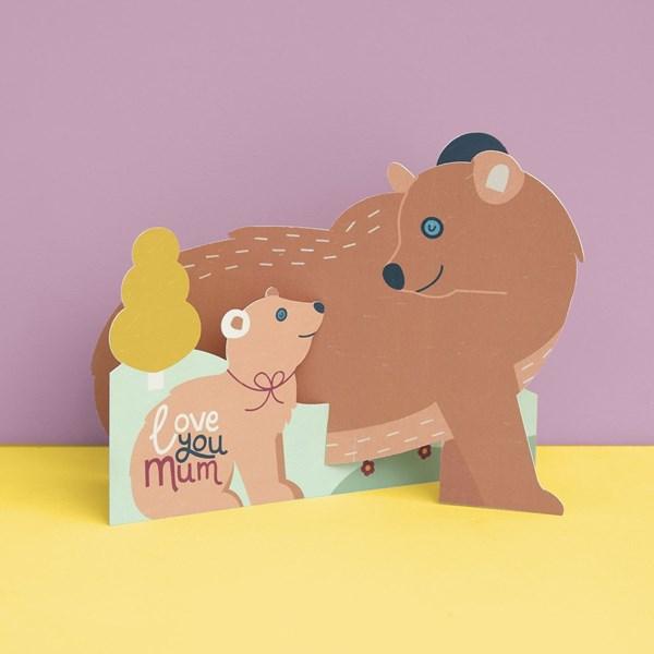 Love You Mum Bear & Cub 3D Fold out card