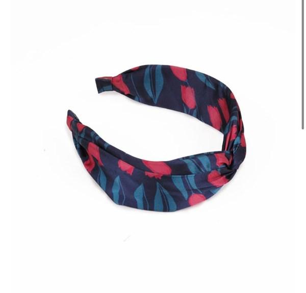Satin headband Tulip Navy