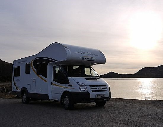 Motorhome at sunset