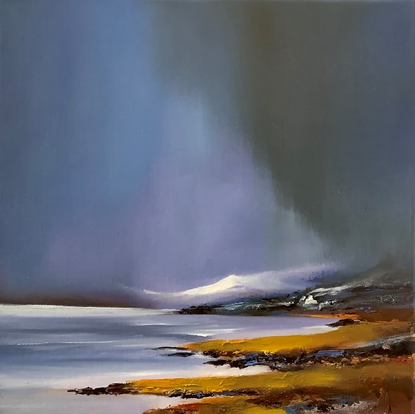 Snow filled sky, Wester Ross 30x30cm oil on canvas, available from Bealach gallery