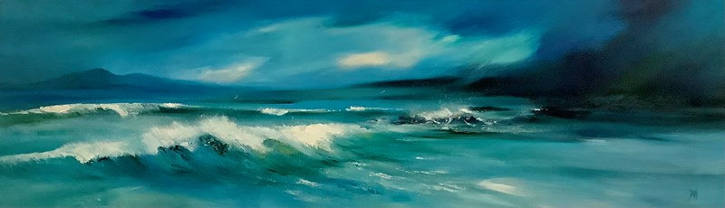 Surf at Borve 100x30cm Available from Holroyd Gallery
