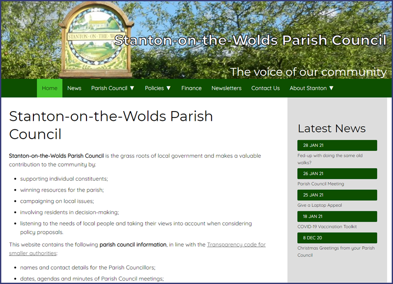 screenshot of parish council website