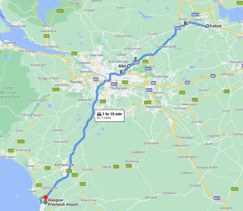 Falkirk to Prestwick Airport Route Map