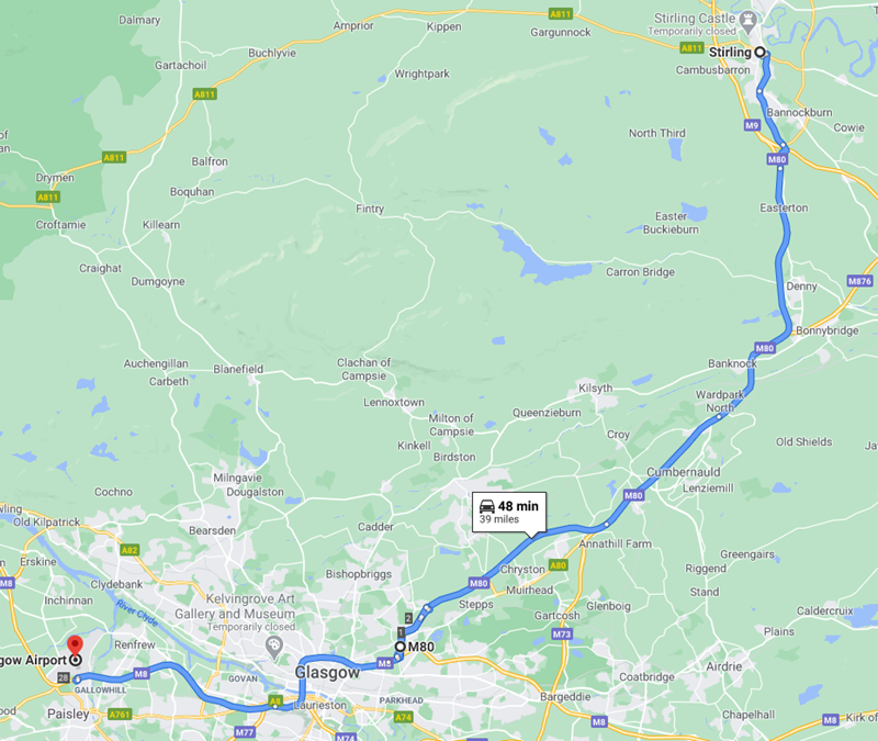 Stirling to Glasgow Airport Route Map