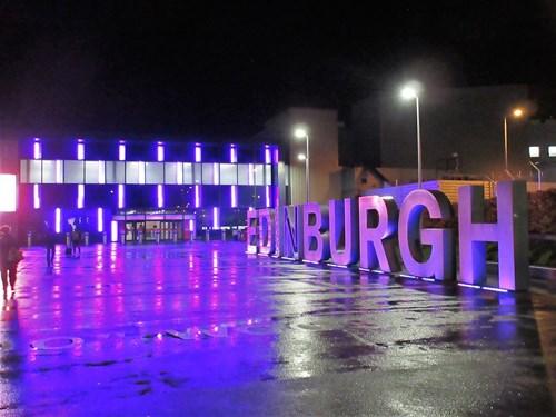 Edinburgh airport at night