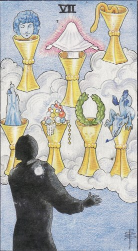 The Seven of Cups regarding conflict & tension.