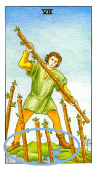The Seven of Wands. His two odd shoes.
