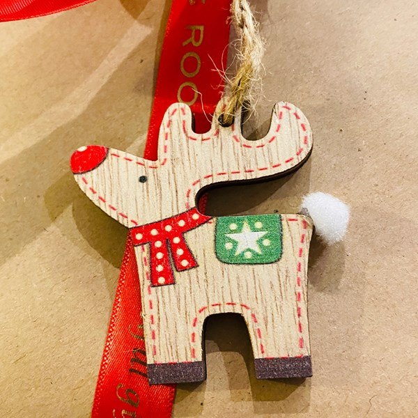 Mini Wooden Reindeer with fluffy tail Decoration