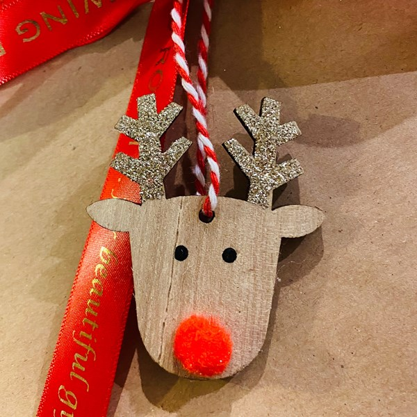 Mini Wooden Rudolph Head Decoration