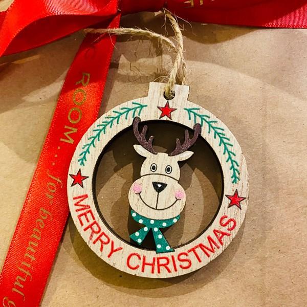 Mini Wooden Reindeer Round Decoration