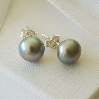 Oversize Grey Pearl Studs
