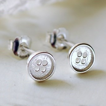 Silver Tiny Button Earrings