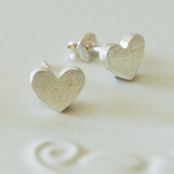 Silver Matt Heart Earrings