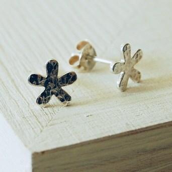 Silver Hammered Flower Earrings