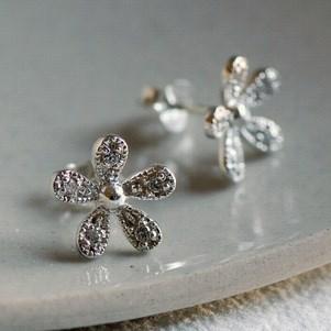 Silver Sparkly Flower Earrings