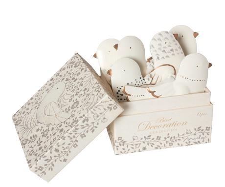 Box of 6 Tin Dove Decorations
