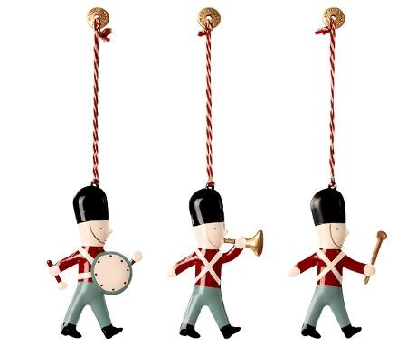 Set of 3 Tin Soldier Decorations
