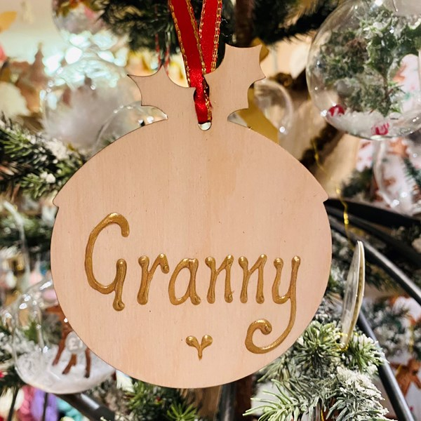 Personalised Wooden Pudding Decoration