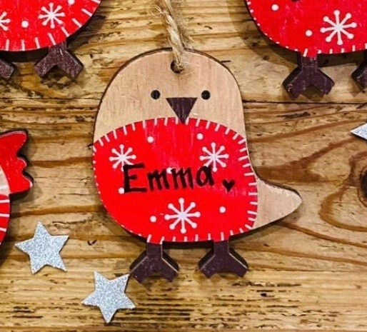 Personalised Mini Wooden Robin Dec