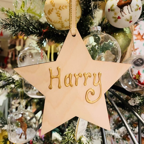 Personalised Wooden Star Decoration