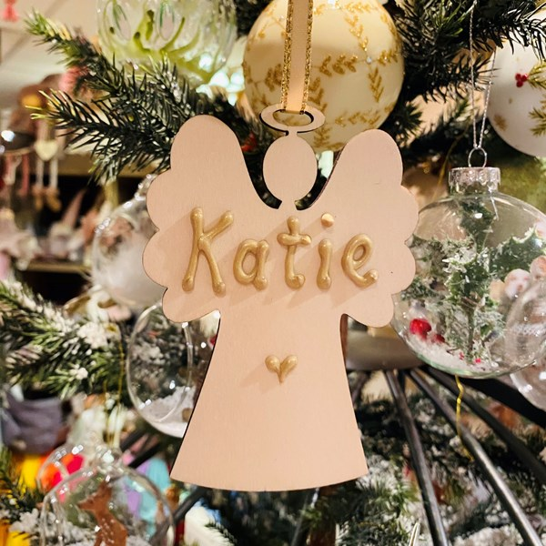 Personalised Wooden Angel Decoration