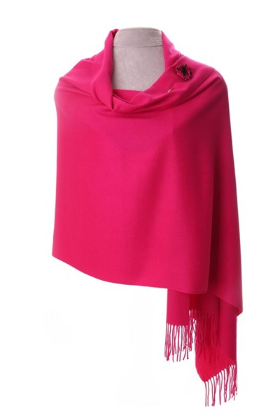 Hot Pink Pashmina with Scarf Pin
