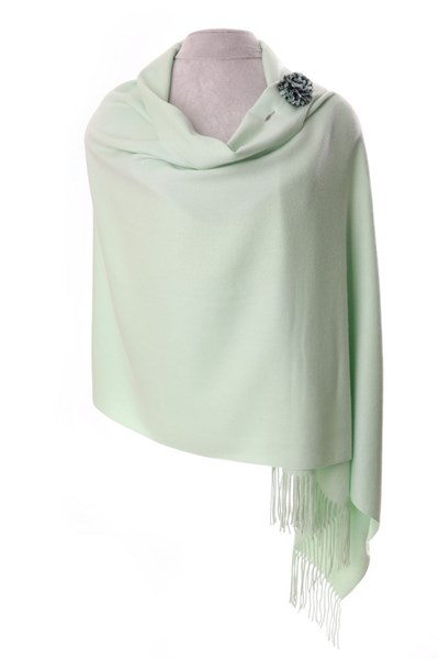 Mint Green Pashmina with scarf pin