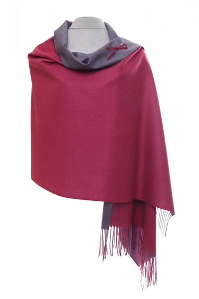 Raspberry/Heather Reversible Pashmina with Brooch