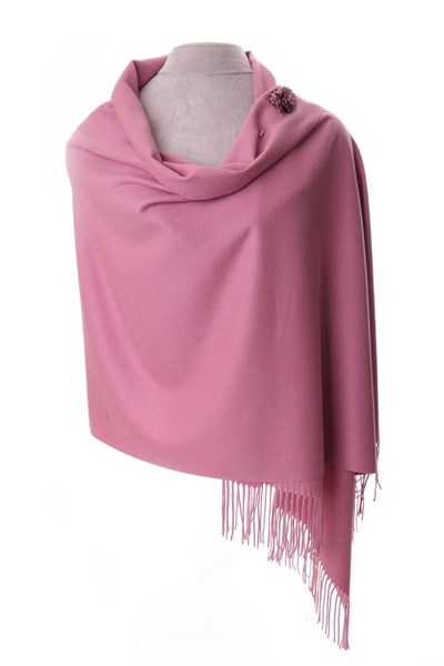 Dusky Pink Pashmina with scarf pin