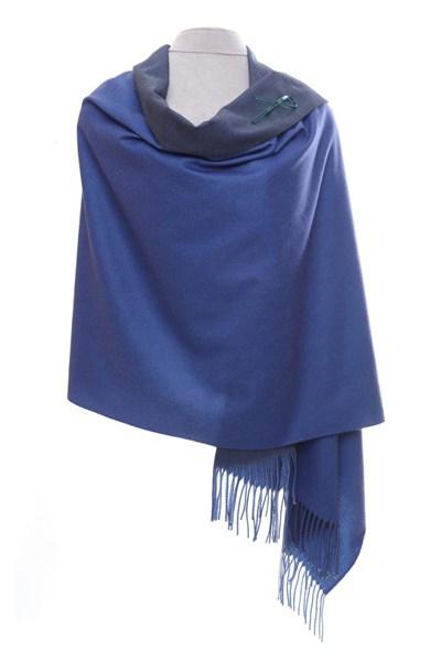 Indigo/Blue Reversible Pashmina with brooch