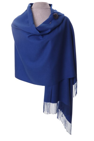 Royal Blue Pashmina with Scarf Pin