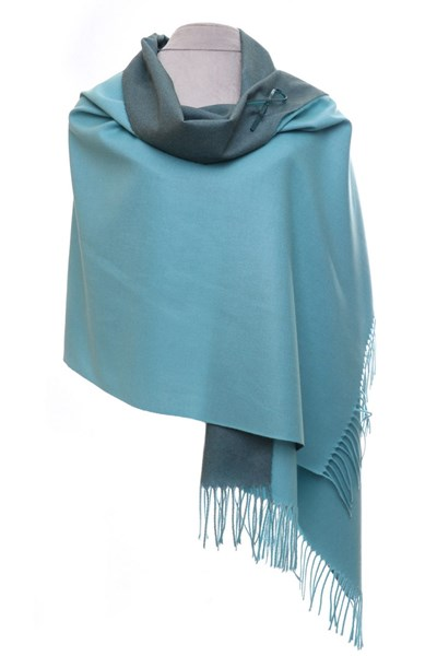 Aqua/Green Reversible pashmina with brooch