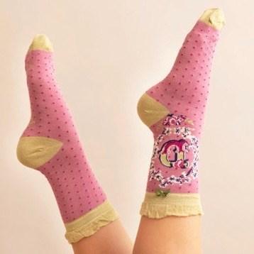 Ladies Bamboo Initial Socks D