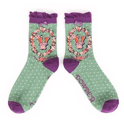 Ladies Bamboo Initial Socks V