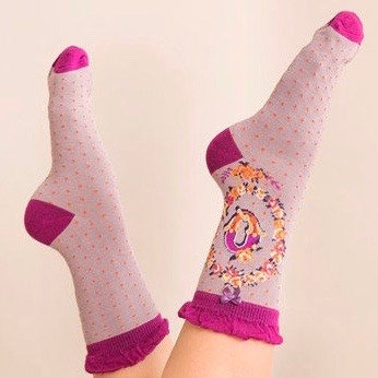 Ladies Bamboo Initial Socks Q