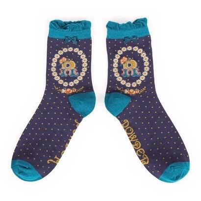 Ladies Bamboo Initial Socks R