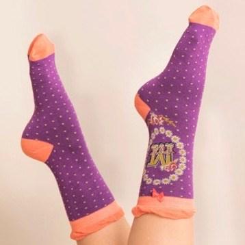 Ladies Bamboo Initial Socks M