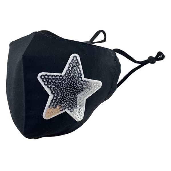 Black with sequins star adult fabric face mask