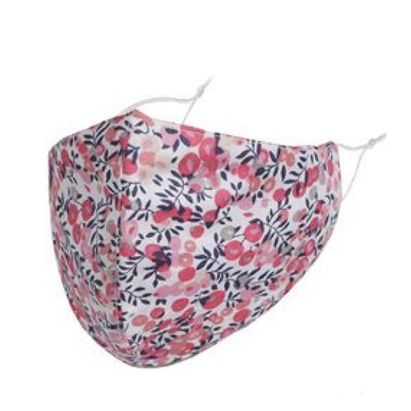 Pink/navy flower print adult fabric face mask