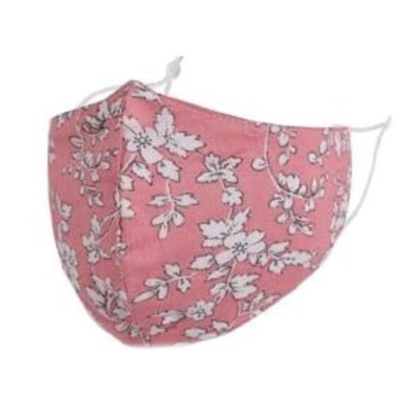 Pink/White Flowers Adult Face Mask