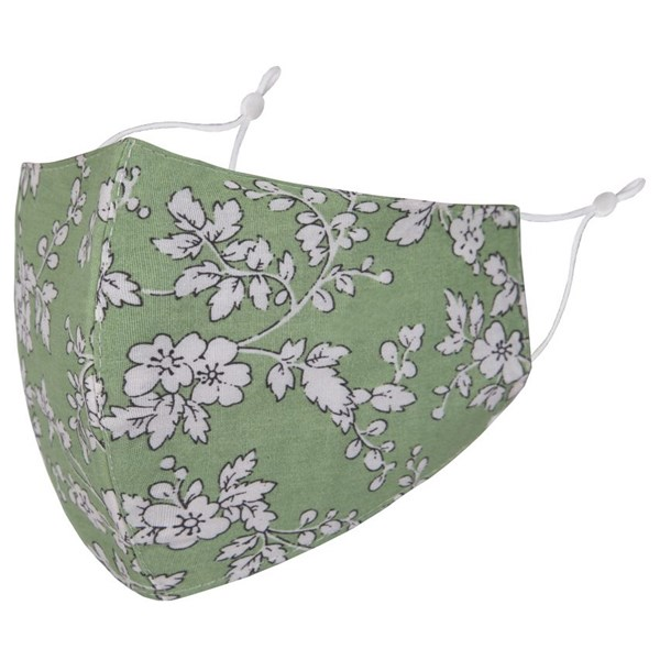 Green/White Flowers Adult Face Mask