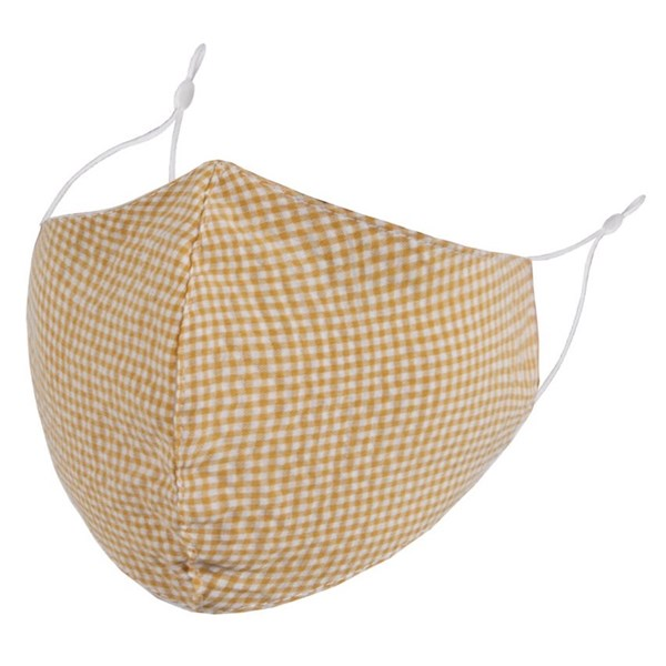 Yellow gingham adult face mask