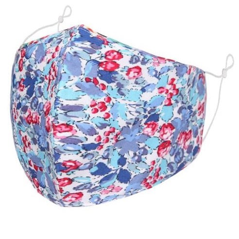 Bright blue multi floral adult face mask - with filter space