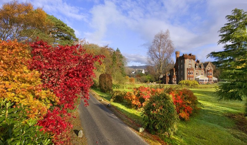 Outside of the Isle of Eriska Hotel with lovely Autumn colours