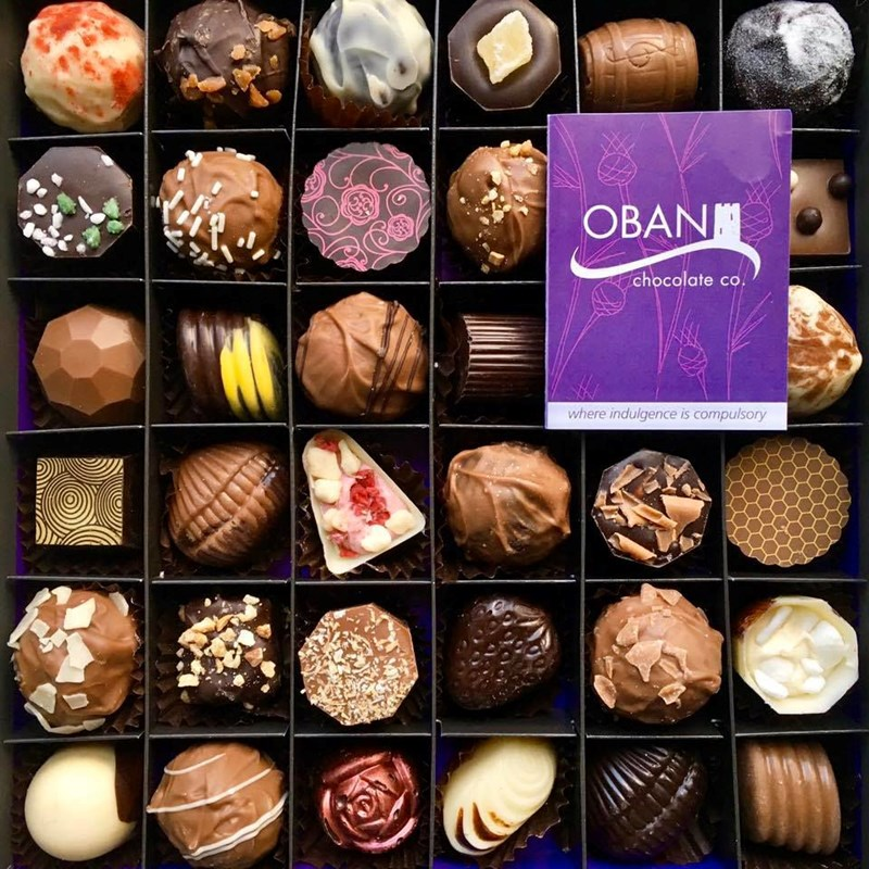 Image of a box of chocolates from Oban Chocolate Company