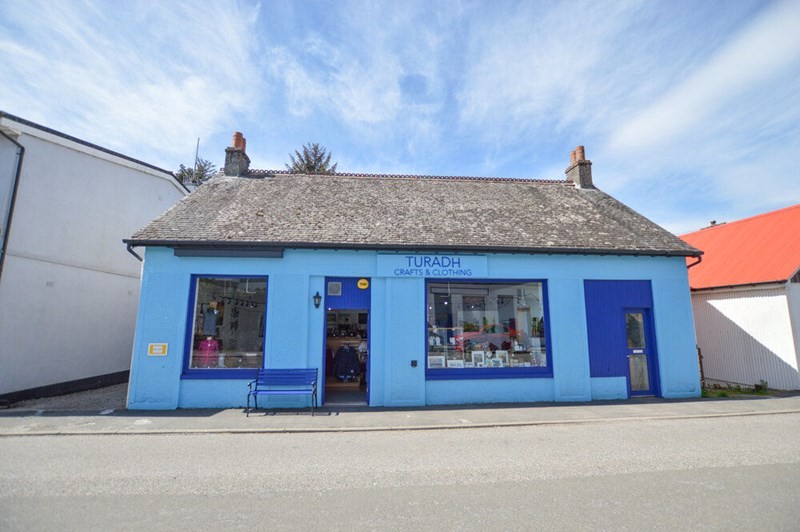 Turadh Crafts and Clothing's blue shop in Taynuilt village