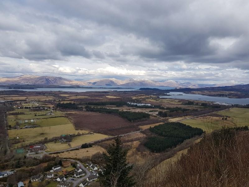View from viewpoint Beinn Lora looking down onto Benderloch