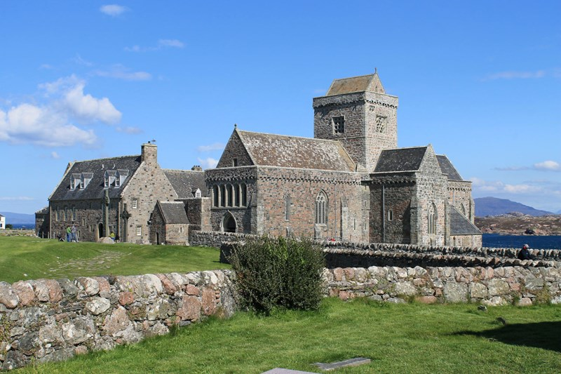 Iona Abbey and green fields