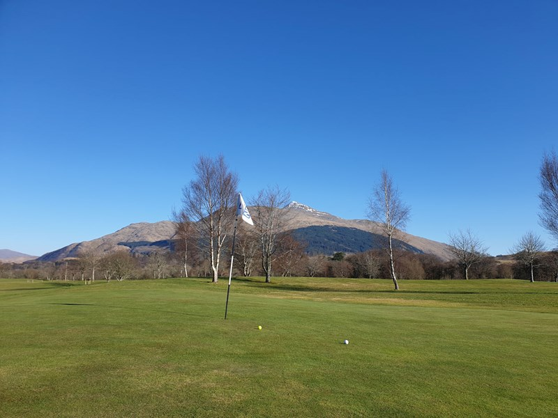 Taynuilt Golf Course looking across the 6th green towards Ben Cruachan