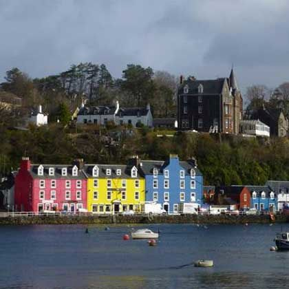 Colourful Tobermory Isle of Mull looking across the bay